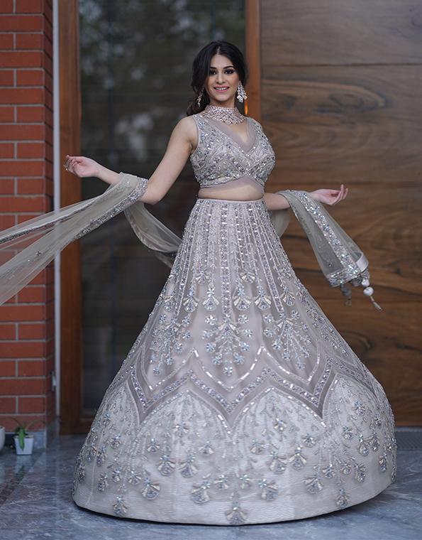 Grey Bridal Lehenga 4