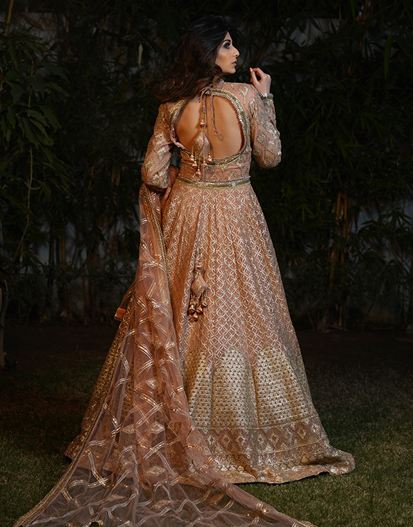 Peach Embroidery Party Wear dress 1
