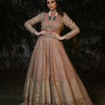 Peach Embroidery Party Wear dress